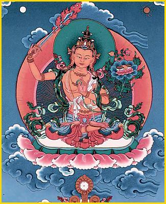 藏传佛教中手持宝剑的文殊菩萨.