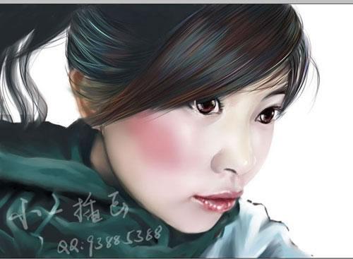 首页 cg绘画 手绘教程 > 手绘人物插画  6.开始对头发和衣物进行细画.