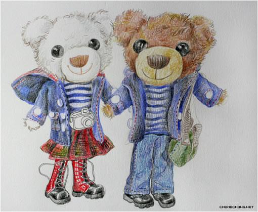 可爱小熊铅笔画手绘步骤