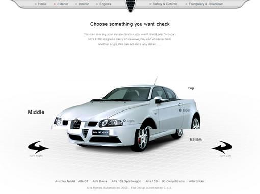 Alfa Romeo 147 客户需求 : 高档跑车,此款车型是热销车型,时尚,现代,表现卓越的同时又不失个性。 创意要点 : 每个场景的转换都由车的开进开出来带入,动作要酷,进入下一个场景的时候车会停在一个和其它场景不重复的角度; 在展示车外观的模块车会被类似玻璃的物质隔成三块,由于视觉的错位,感觉好像被很锋利切开,用户可以自由选择所需要了解的部分,鼠标移动到某个部分那个部分会放大当前所选; 在体验汽车操控性能方面,给用户一个很好的互动游戏,用户可以操作汽车在屏幕里面行走,当然,用户可以选择出现一些障碍