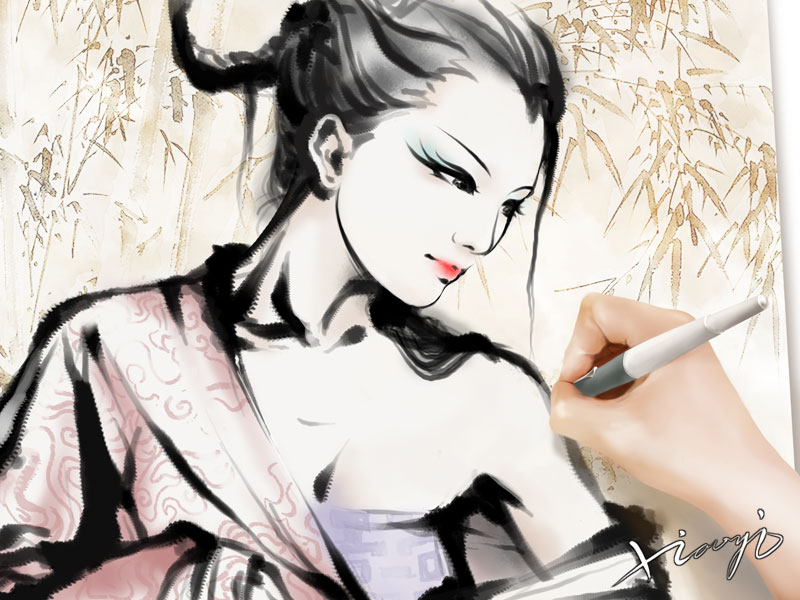 首页 cg绘画 手绘教程 > photoshop中手绘水墨风格美女  6,现在应该是