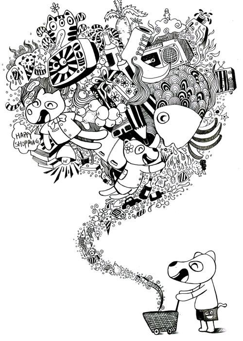 快乐狗原创动漫大赛截稿延期;; 手绘人物黑白装饰画