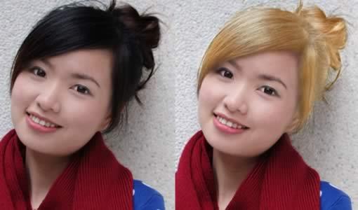 在ps中为人物照片头发替换颜色
